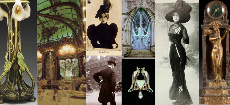 collage of scenes and people from the belle epoque, fashion and design