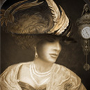 head and shoulders of elegant Edwardian woman in hat, dark background