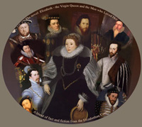 small image of Elizabethan people in collage, including queen