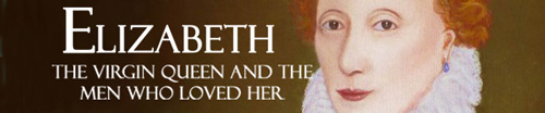 banner showing face of Elizabeth 1st against dark brown background