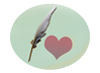 small logo with heart shape and quill linking to poetry index