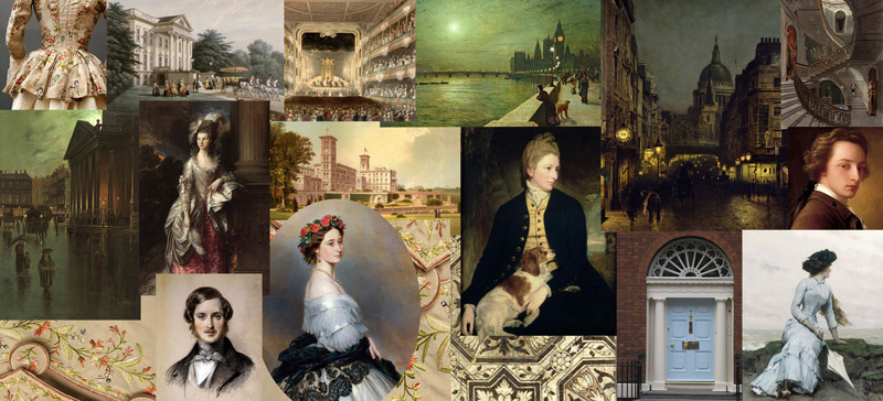 large composite of images showing men, women and places from 17th and 18th century England