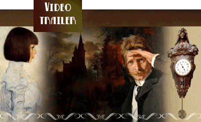edwardian gentleman gazing into distance with gothic background and clock