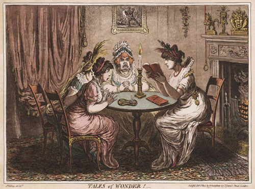 cartoon of group of avid readers, ladies gathered around a table in discussion