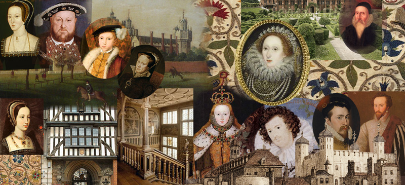 large-scale collage of images showing people and places from 16th-century England