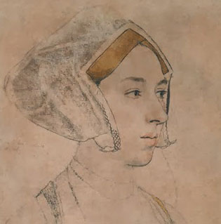 half profile sketch of Tudor woman, gable hood