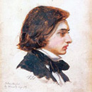 small sketch of young Victorian gentleman artist, long hair