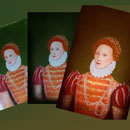 triple image of progress in painting image of Elizabeth 1st for bookcover
