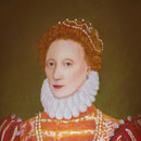 head and shoulders of Elizabeth I, queen, in scarlet, with white ruff