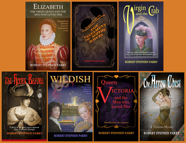 composite illustration of book covers showing the novels of Robert Stephen Parry