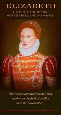 small image of Elizabeth 1st with typical red hair and white ruff