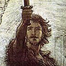 drawing of head and shoulders man holding sword aloft