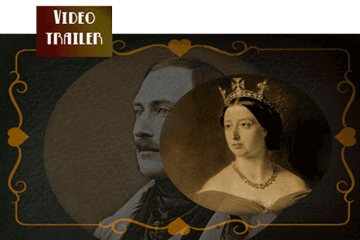 double image of victoria and albert, sepia tone, atmospheric